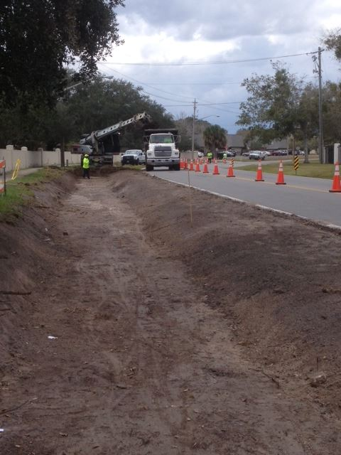Ditch maintenance performed along street
