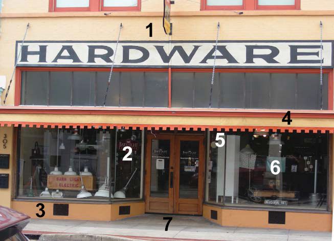 Hardware Store with Labeled Facade Elements