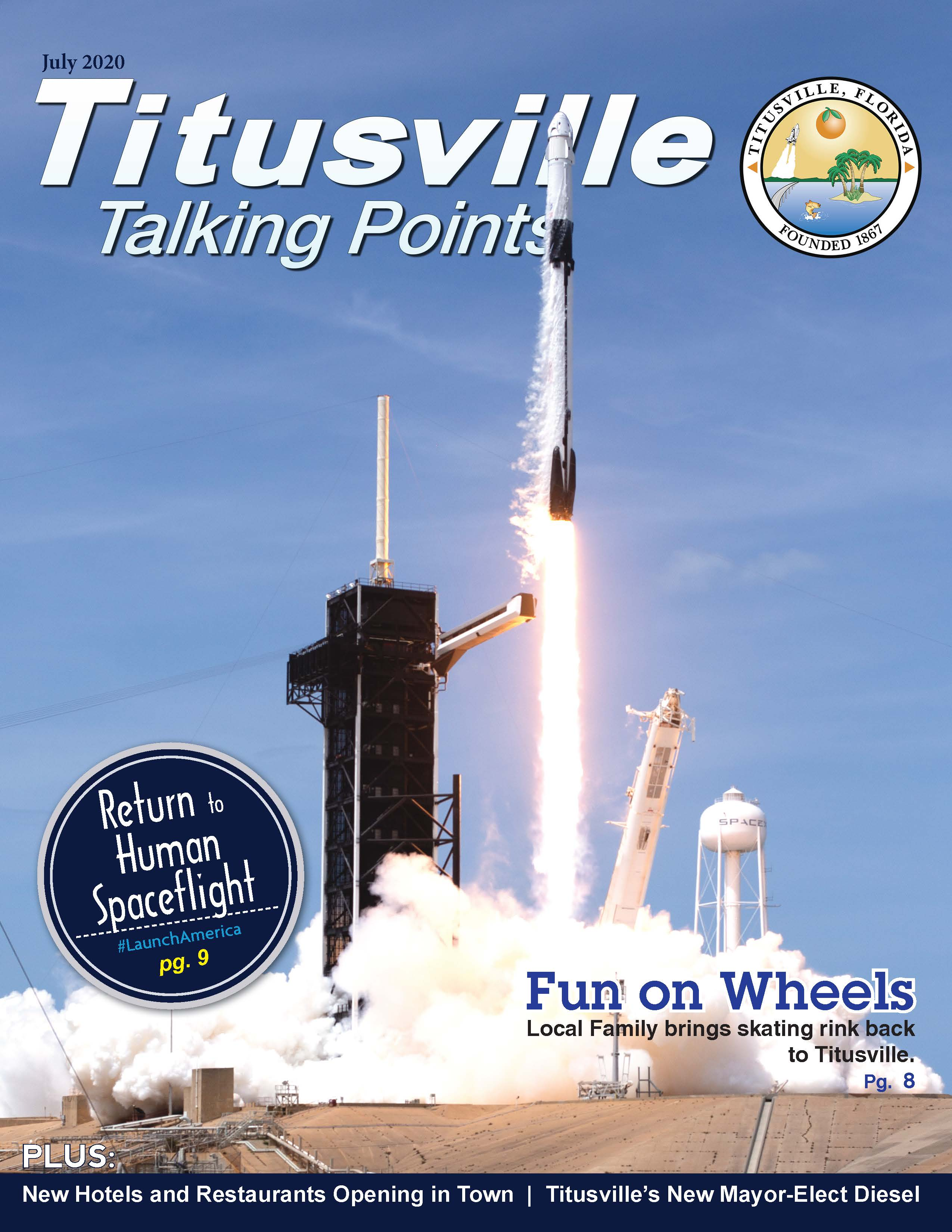 Cover of Titusville Talking Points, July 2020. Rocket Launch photo.