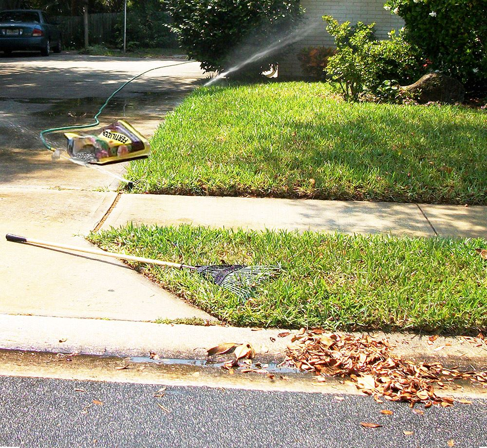 Yard Example of Things Citizens Do Wrong When Watering